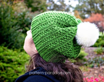Crochet Pattern for Beanie Hat, Winter Haven Collection, Toddler, Child, Adult PDF 17-340