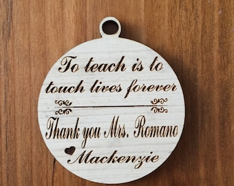 """Personalized Teacher's 4x4"""" Christmas Ornament, Xmas ornament, bshower gift, Teacher Gift, Teacher Appreciation, Christmas gift"""