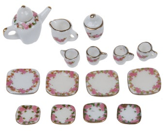 15 pc Miniature Dollhouse Plates White Colorful Porcelain Set Design Cups Plastic Dollhouse Tableware MD0530