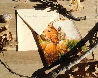 Map postcard with envelope - thoughtful - Illustration Delphine striker shiney