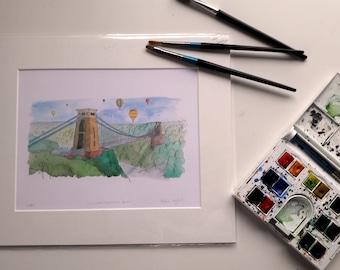 Bristol Art, Clifton Suspension Bridge, England, Print from Original Watercolour Painting, Hand Drawn Pen illustration, Art Print