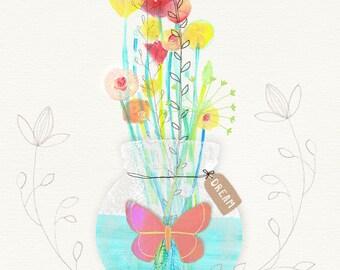 Flower Bouquet with Butterfly - Inspirational Art Print