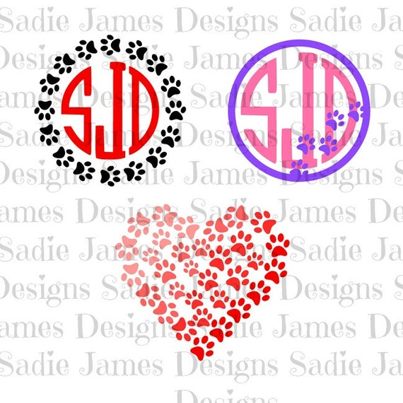 Paw Print monogram frame SVG and Silhouette Studio cutting file ...
