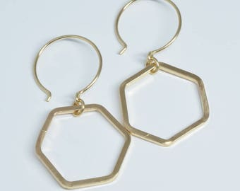 HONEYCOMB GOLD EARRINGS, gold filled hexagon earrings small earrings modern dainty earrings