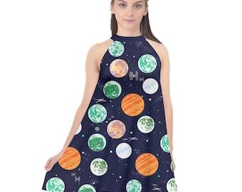 Star Wars Dress, Galactic Planets on Navy Space Chiffon Dress, Collard Chiffon Halter Dress, Stars, Death Star, Tatooine, Endor, Hoth