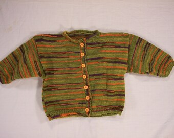 Boys Green and orange cardigan size 1 yr.