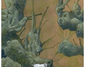 "DISCONTINUED - 8""x10"" Open Edition archival art print  ""Quest"" unicorn surreal landscape nature watercolor fantasy green"