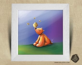 Frame square 25 x 25 birth gift with Illustration baby bears and bees nursery kids baby