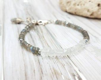 Labradorite aquamarine bracelet | labradorite sterling silver bracelet
