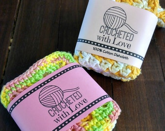 Printable PDF Crochet Dishcloth Label Wrappers - Crocheted with Love Yarn Ball