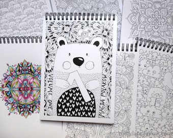 Adult Colouring Book 40 illustrations A5 size Traveler Colouring Book Travel Mini Book Colouring Addicts