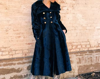 70's Blue Velvet Trench Coat, Gold Lining & Brass Buttons. SMALL