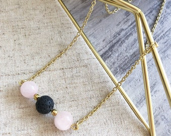 Rose Quartz Essential Oil Diffuser Bar Necklace, Lava Rock, Aromatherapy, Gift, Handmade, Chain Necklace , Boho Chic