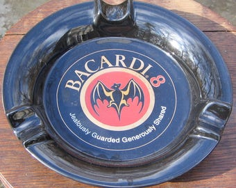 Bacardi Rum Black Ceramic Bat Ashtray