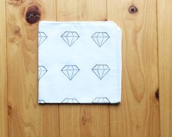 diamond handkerchief | ladies hankie | japanese cotton hand wipe | kids nose wipe | hand printed baby face wipe | wedding craft gift idea