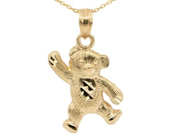 10k Yellow Gold Teddy Bear Necklace
