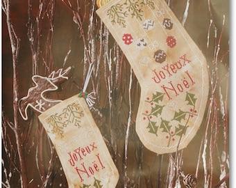 """Chaussettes de Noel """"Holly""""  Cross Stitch Pattern in PDF format"""