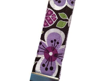 Purple Floral Print Key Fob