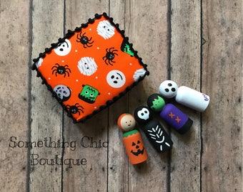 Halloween Wood Peg People Kids Gift Set Pumpkin Skeleton Ghost Franken Stein