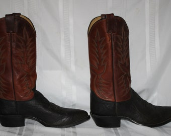 Vintage Men's Justin Western Cowboy Boots 9 1/2D Black/Brown Embroidered #2659 Made in USA