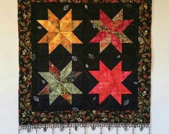 Autumn Nights Wallhanging/Quilt with Beaded Edge and Leaf Embellishments -Handmade to Order