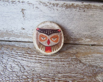 Owl Magnet On Wood Chip Whimsical Woodland Cottage Traditional Farmhouse Children MidCentury Style Owl Ready to Ship Neodymium Magnet M-5