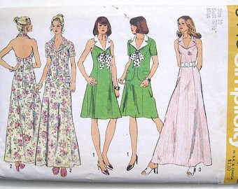 "Vintage 70s Princess Seam Halter Dress, Jacket. Simplicity Sewing Pattern 5448. Size 10"" Bust 32 1/2"""