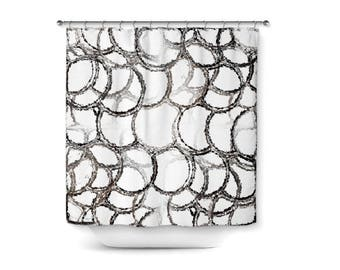 "Abstract Shower Curtain, Black White Grey Taupe, Bathroom Decor, Bath Curtain, Home Decor, 71""x74"""
