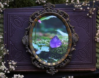 Antique Ornate Metal Frame with Amethyst Photography Print