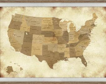 Framed vintage maps etsy usa vintage map framed detailed us map 30x45 inches custom map gumiabroncs Images