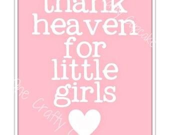 Je remercie le ciel pour petites filles pépinière Art imprimable
