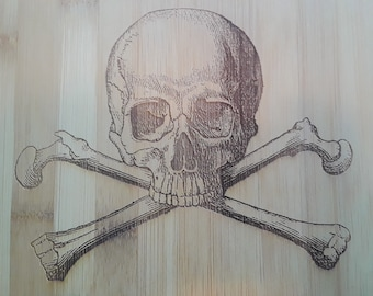 Antique Pirate Skull and Crossbones Bamboo Wood Cutting Board