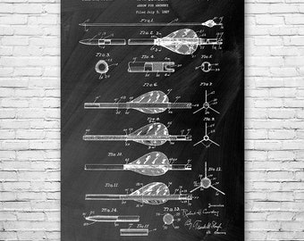 Archery Arrow Poster Art Print, Archery Poster, Archery Wall Art, Arrow Art, Arrow Patent, Arrow Design, Archery Gift, Marksman Gift