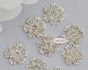 RD172 20pcs  Rhinestone Flatback Metal Glass Crystal Embellishments wedding bridal invitations DIY buttons