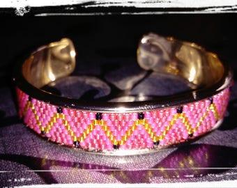 Pink and yellow Bangle Bracelet