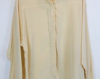 Vintage shirt, Silk shirt, 80s clothing, shirt 80s, Blouse, beige, long sleeves, oversized, silk (KK/06/166)
