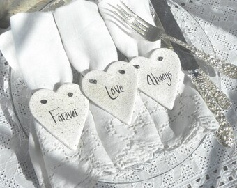 Valentine's Day Napkin Rings Set of 10 Salt Dough Heart Ornaments