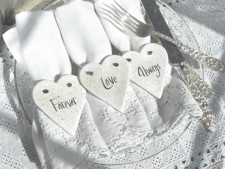 Valentine\'s Day Napkin Rings Set of 10 Salt Dough Heart