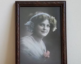 Vintage Woman Portrait Photograph Hand Tinted In Embossed Wood Picture Frame, Art Nouveau Arts & Crafts Period