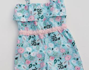 Romper Shorts, Floral Romper Shorts, Floral Shorts, Party Romper Shorts, Birthday Floral Rompers, Rompers, Floral Rompers,  Girl Rompers