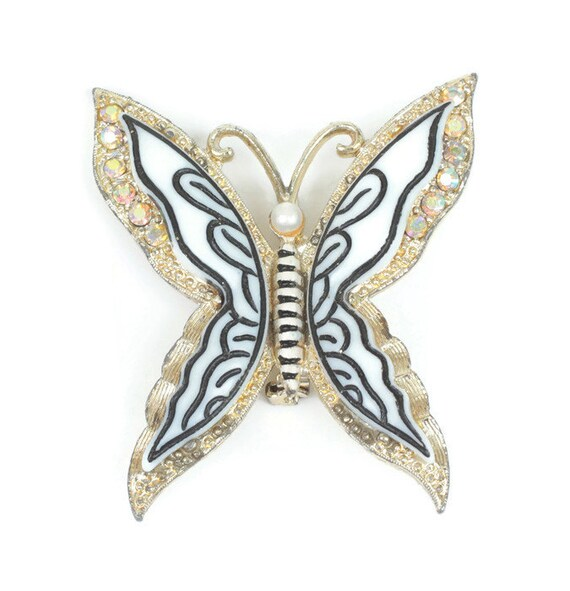 Layered Butterfly Brooch Aurora Borealis Rhinestones Lucite Simulated Pearl Vintage