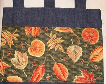 New Handmade Denim Walker Bag Fall Leaf Autumn Leaves Basketweave Theme