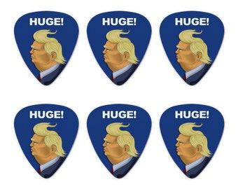 Huge! donald trump caricature with wind blowing hair funny novelty guitar picks medium gauge - set of 6