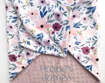 Baby Shower Gift - Minky Baby Blanket - Monogram Baby Blanket - Floral Blanket - Baby Girl Blanket - Newborn Baby Blanket - Custom Blanket