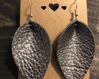 Leather Earring/Leather Leaf Earrings/Petal Earrings/Handcrafted/Gun Metal Metallic Earrings