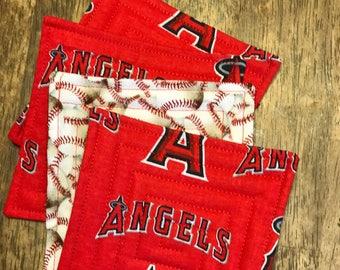 LA angeles baseball coasters, fabric coasters, quilted coasters.