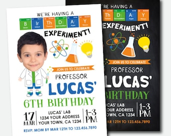 Science Invitation with photo, Mad Scientist Invitation, Mad Scientist Birthday Party, Personalized Digital Invitation, 2 options