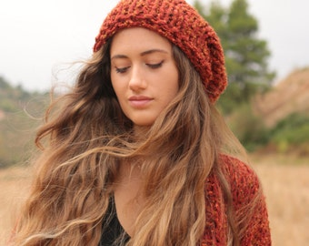 Red hat, sienna red chunky knit beanie, slouchy women's hat, hand knit soft and warm winter hat, red tweed beanie, brick red hat