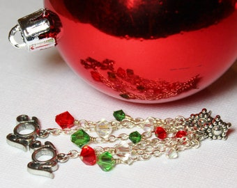 Joy... Handmade Beaded Jewelry Earrings Christmas Holiday Red Green Silver Crystal Lightweight Long