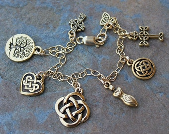 Celtic Symbols Gold Charm Bracelet or Anklet- Celtic knots, Tree of life, Celtic cross, Triquetra, Spiral Goddess, Heart - free shipping USA